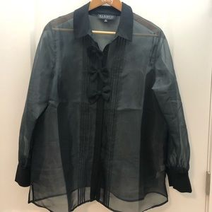 Eloquii black sheer bow front blouse size 14